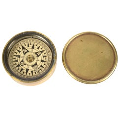 Dry Pocket Nautical Compass Placed in Its Original Box Made of Turned Brass