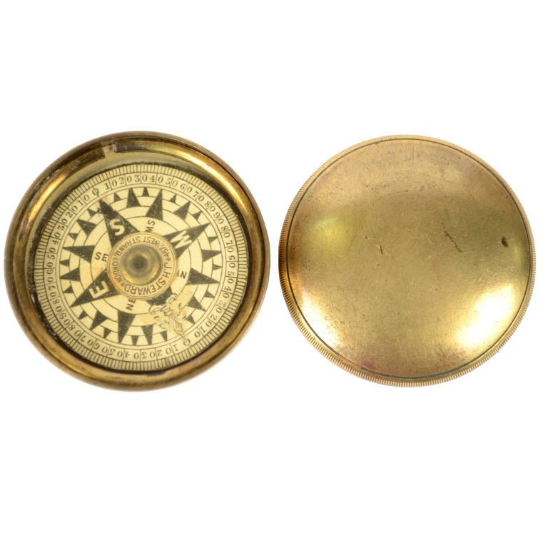 Dry Compass Placed in Its Original Box Made of Turned Brass For Sale
