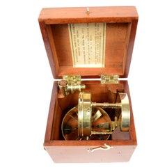 Brass and Glass Vintage Anemometer by Negretti & Zambra