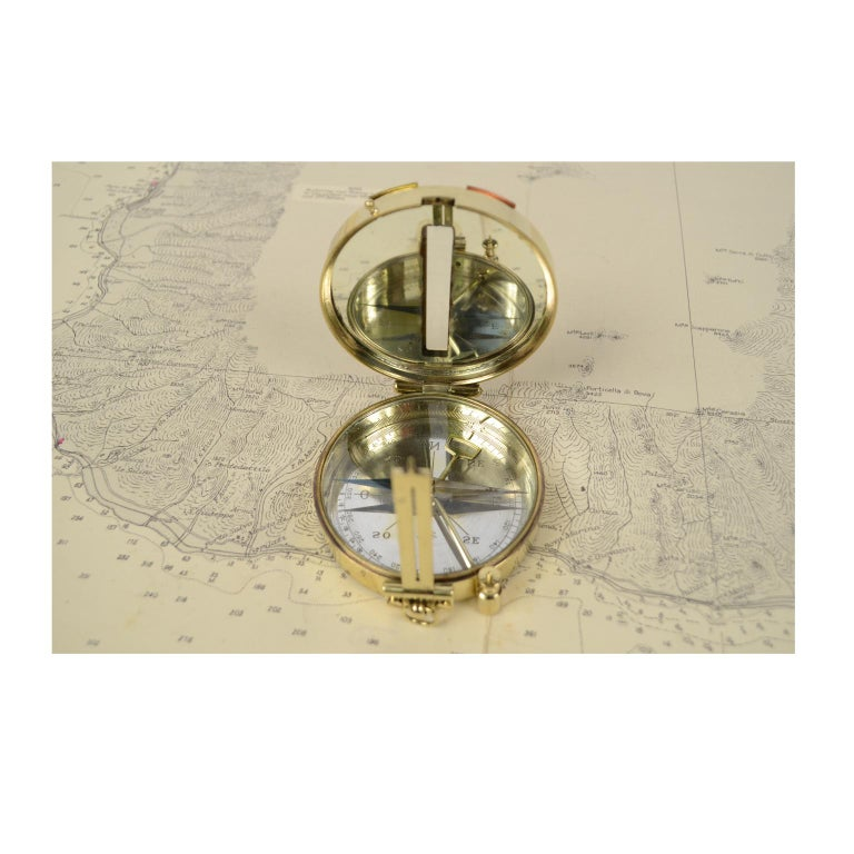 French Magnetic Compass for Topographers Made of Brass For Sale
