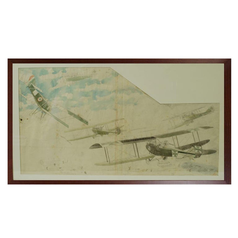 Drawing Depicting Five Fighting Biplanes, First World War