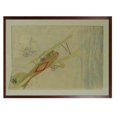 Pastel and Pencil Drawing Represents the Albatros DV A