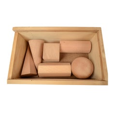 Box Containing Six Geometric Solids Made of Wood Made in Italy in the 1960s