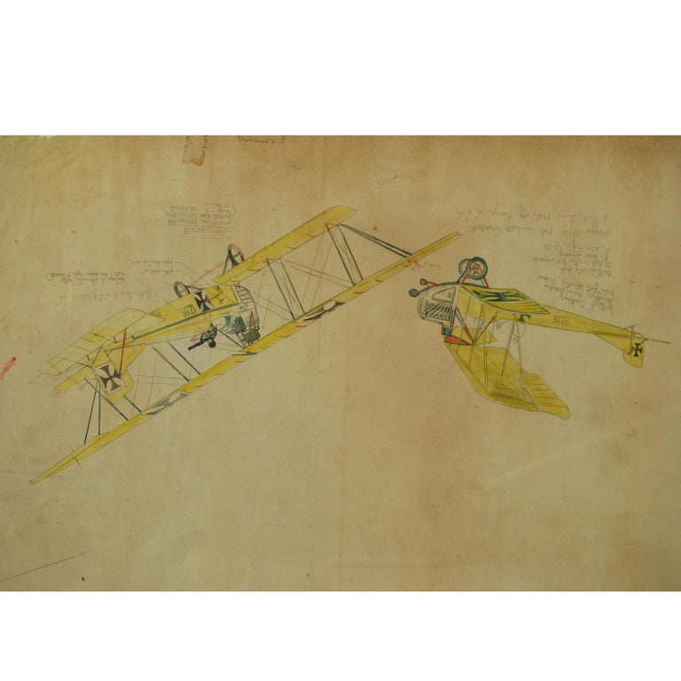 Watercolor, pastel and pencil depicting three different biplanes, drawn by Riccardo Cavigioli in the early 1920s. Lower half 1= two-seat biplane for reconnaissance Lloyd C I, 41 series, developed in 1914. Upper half from left: 2= two-seat biplane