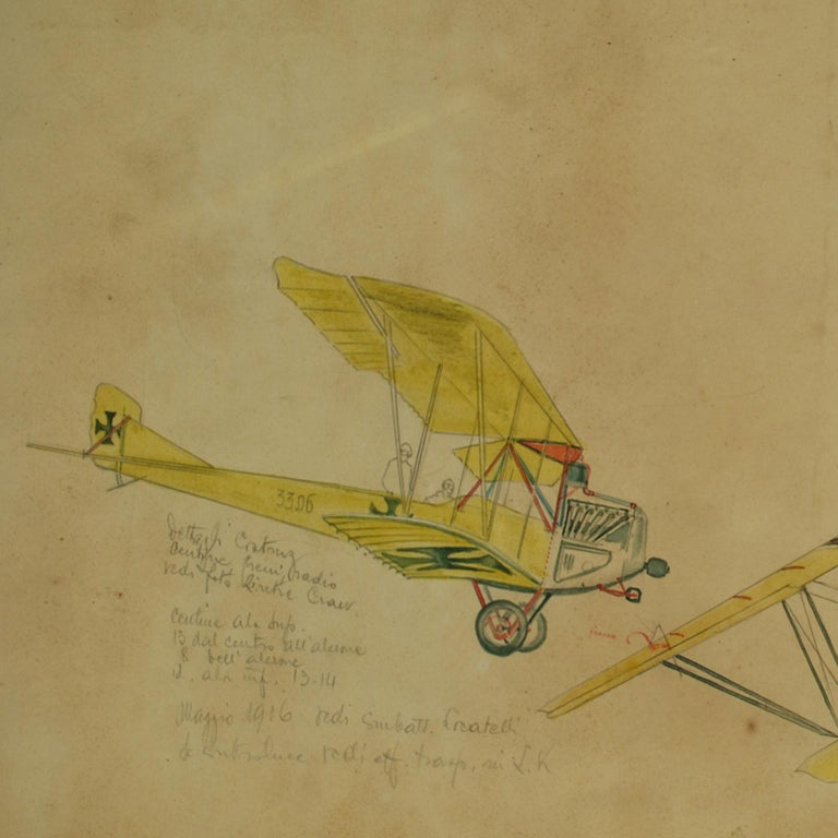 Drawing Depicting Three Different Biplanes WWI In Good Condition For Sale In Milan, IT