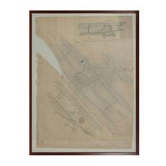Drawing Representing Three Different Biplanes WWI