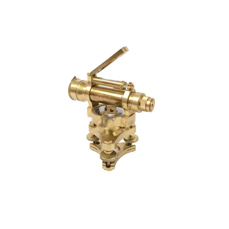 Small Brass English Level with Telescope, 1940s