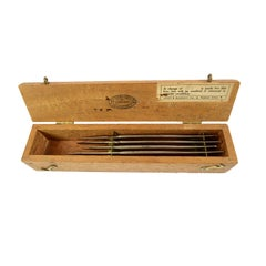 Set of 4 Scalpels in a Wooden Box Made in UK at the End of the 19th Century