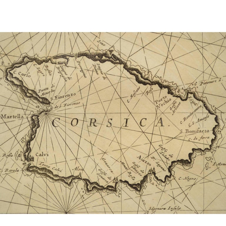 Nautical Map Depicting The Coasts Of Sardinia And Corsica