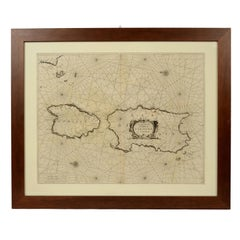 Nautical Map Depicting the Coasts of Sardinia and Corsica, 1664