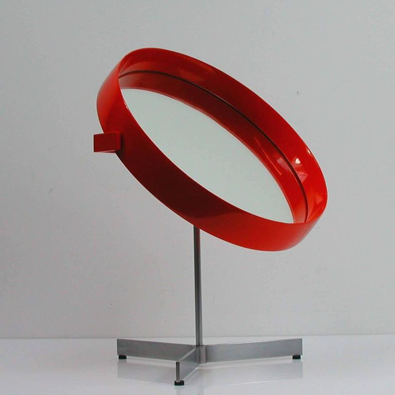 Very rare red table mirror by Uno and Osten Kristiansson for Luxus Vittsjö, made in Sweden in the 1960s.