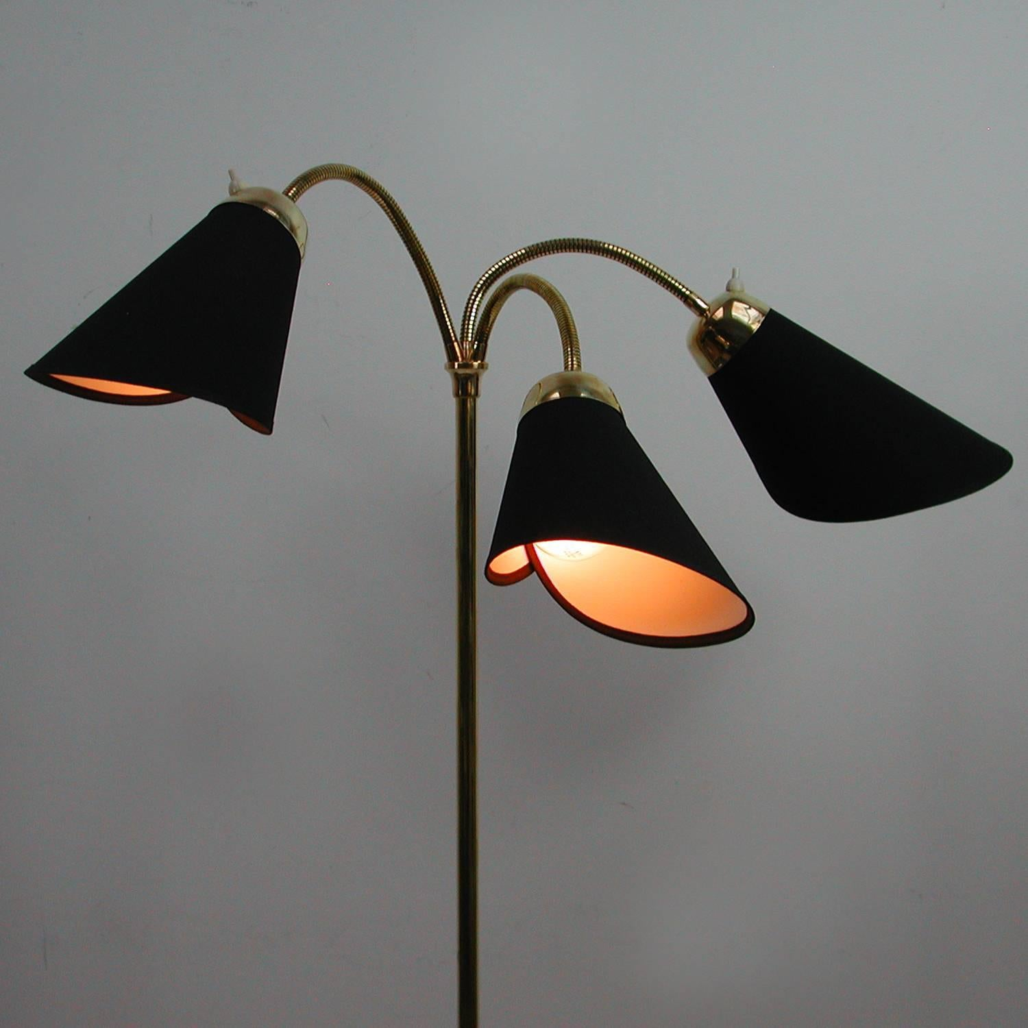 Mid Century Italian Triple Gooseneck Floor Lamp 1950s At 1stdibs