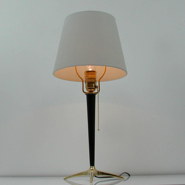 Mid-Century Modern Mid-Century Brass and Metal Table Lamp in the Manner of J.T. Kalmar For Sale
