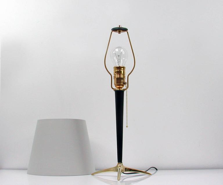 Mid-20th Century Mid-Century Brass and Metal Table Lamp in the Manner of J.T. Kalmar For Sale