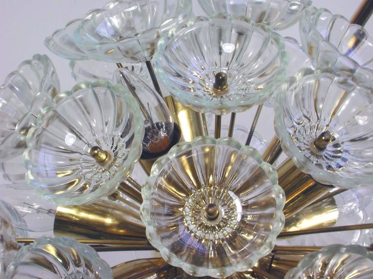 Brass 1960s German Sputnik Dandelion Twelve-Light Chandelier For Sale