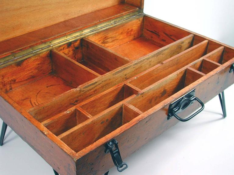 Vintage German Industrial Tool Box Side Table 1940s For