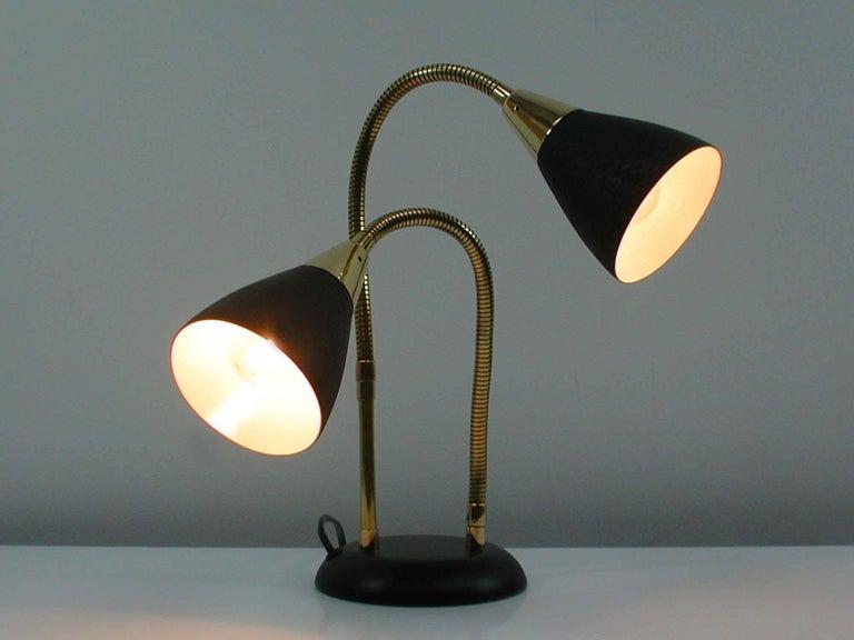 Mid Century Italian Double Gooseneck Table Lamp 1950s At 1stdibs
