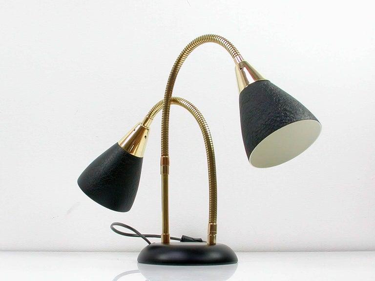 Mid Century Italian Double Gooseneck Table Lamp 1950s At