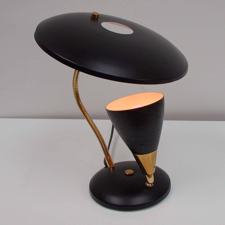 Mid-20th Century Midcentury French Reflecting Gooseneck Black Table Lamp, 1950s For Sale