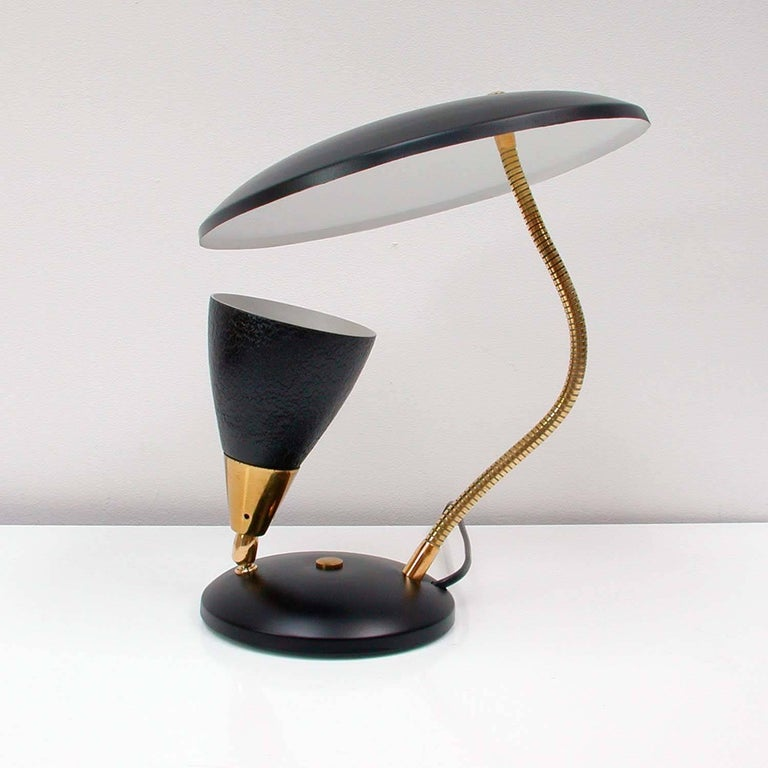 Midcentury French Reflecting Gooseneck Black Table Lamp, 1950s For Sale 2