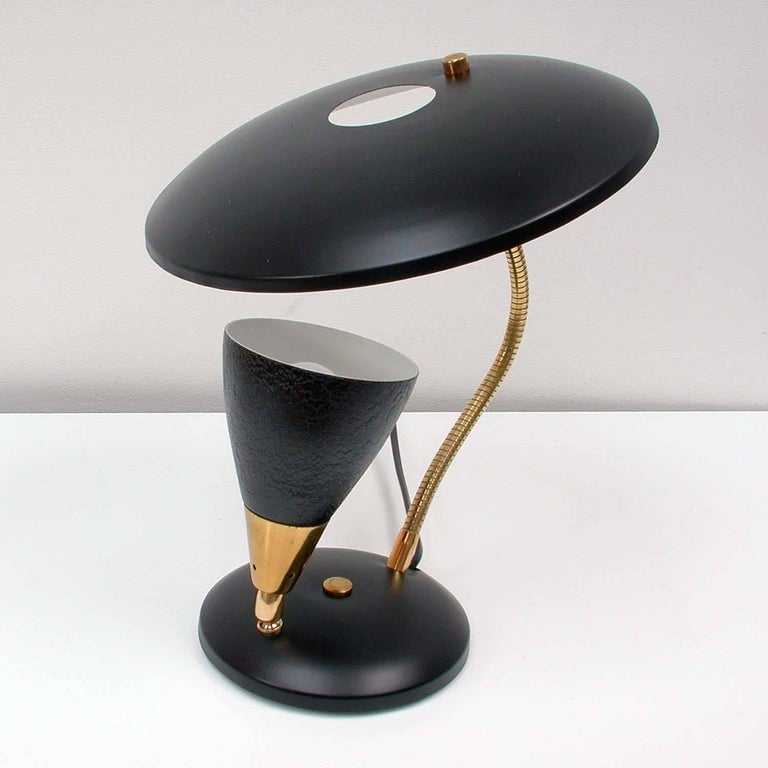 Lacquered Midcentury French Reflecting Gooseneck Black Table Lamp, 1950s For Sale