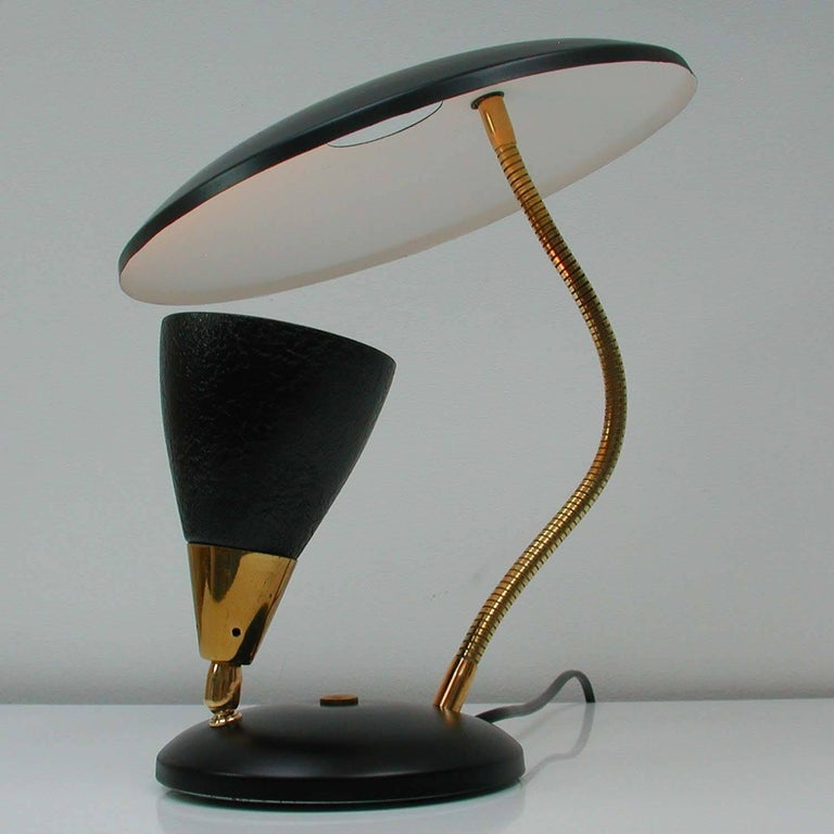 Midcentury French Reflecting Gooseneck Black Table Lamp, 1950s For Sale 1
