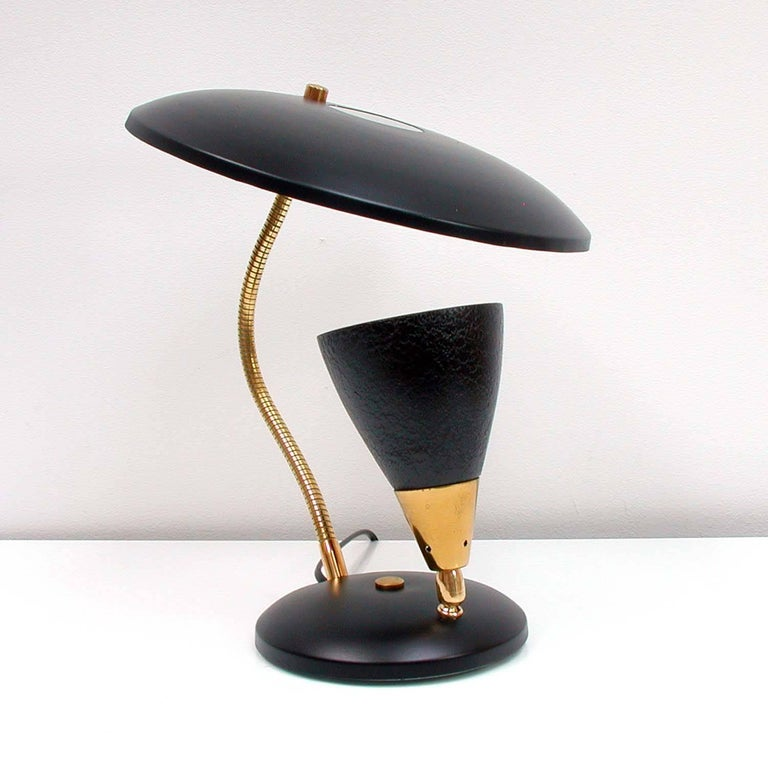 Midcentury French Reflecting Gooseneck Black Table Lamp, 1950s For Sale 3