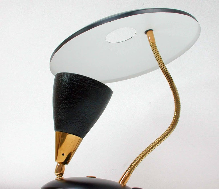 Mid-Century Modern Midcentury French Reflecting Gooseneck Black Table Lamp, 1950s For Sale