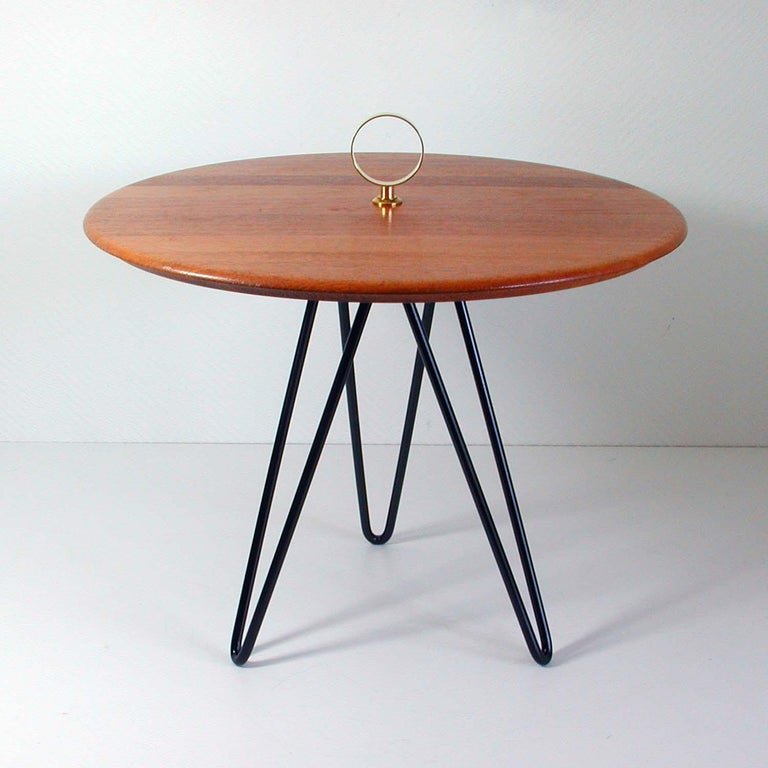 Mid-Century Modern Midcentury Teak, Brass and Cast Iron Tripod Side Table by Digsmed, Denmark For Sale