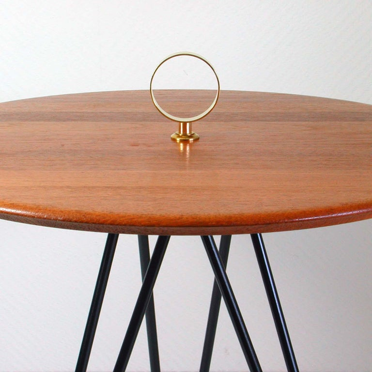 Danish Midcentury Teak, Brass and Cast Iron Tripod Side Table by Digsmed, Denmark For Sale