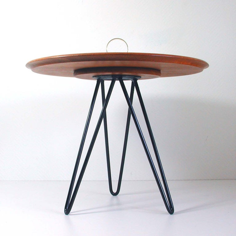 Midcentury Teak, Brass and Cast Iron Tripod Side Table by Digsmed, Denmark In Good Condition For Sale In Nümbrecht, NRW