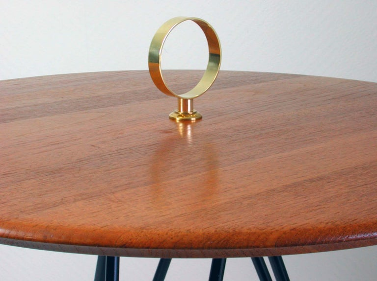 Midcentury Teak, Brass and Cast Iron Tripod Side Table by Digsmed, Denmark For Sale 1