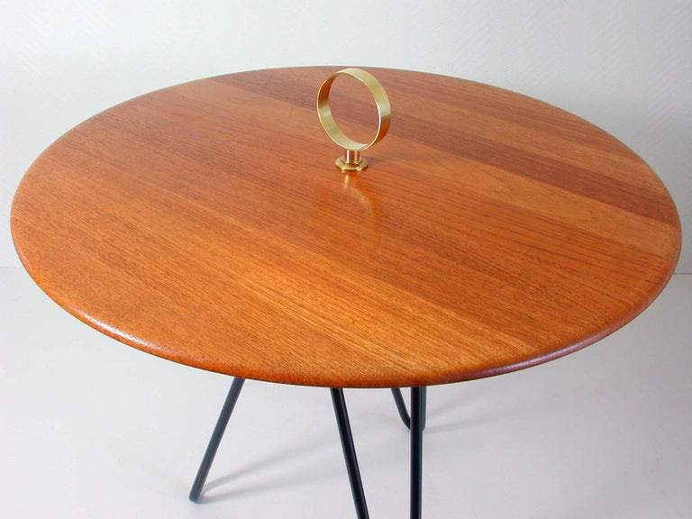 Midcentury Teak, Brass and Cast Iron Tripod Side Table by Digsmed, Denmark For Sale 3