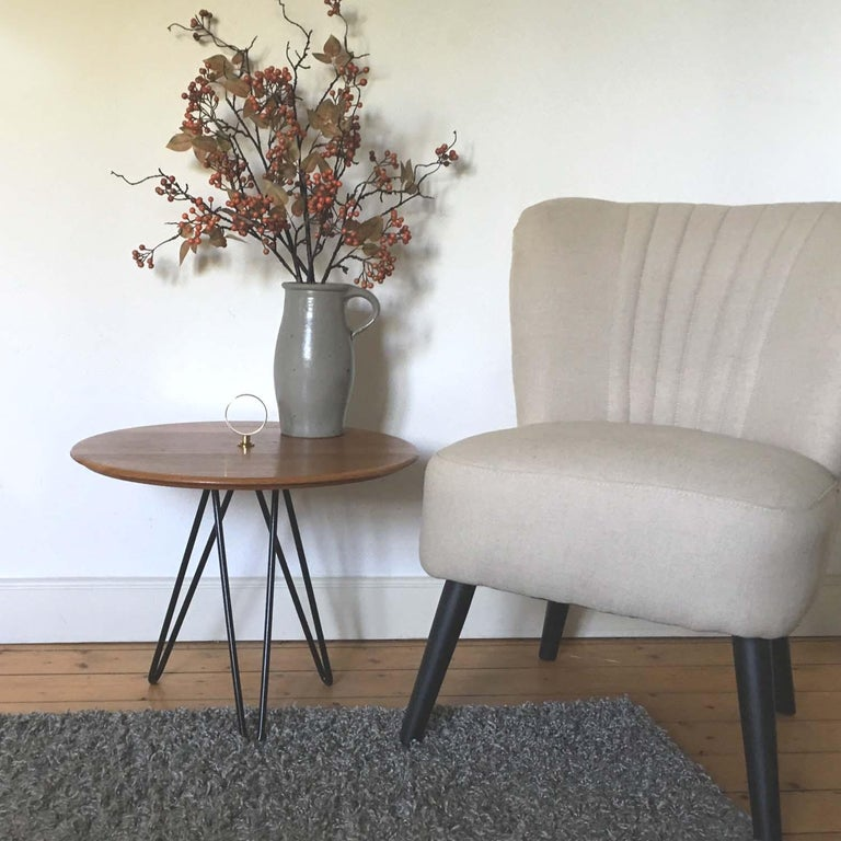 Midcentury Teak, Brass and Cast Iron Tripod Side Table by Digsmed, Denmark For Sale 4