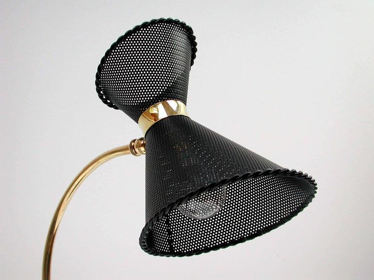 Brass 1950s, Midcentury, French Mathieu Matégot Style Table Lamp For Sale