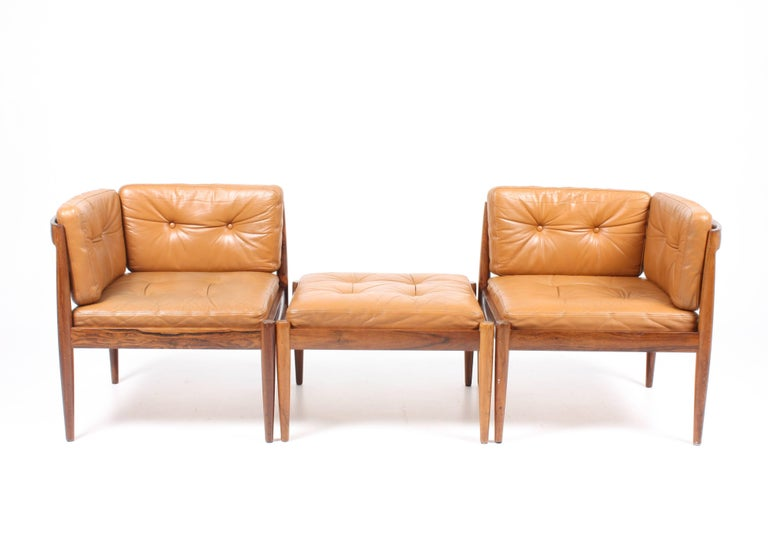 Danish Pair of Lounge Chairs with Ottoman