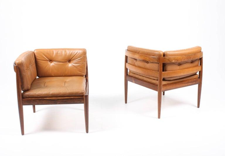 Scandinavian Modern Pair of Lounge Chairs with Ottoman