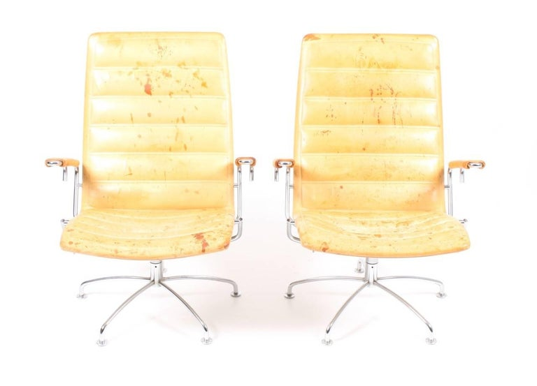 Danish Pair of Patinated Lounge Chairs by Jens Amundsen For Sale