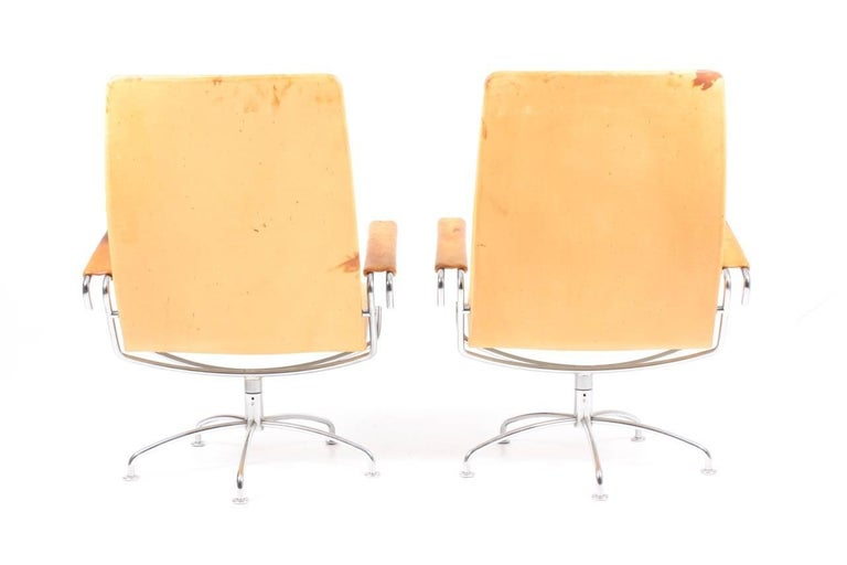 Metal Pair of Patinated Lounge Chairs by Jens Amundsen For Sale