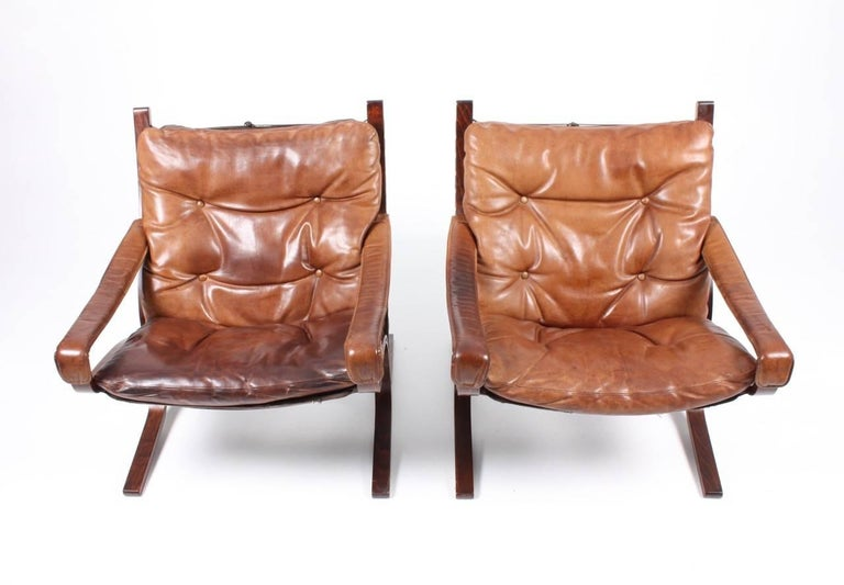 Leather Pristine Pair of Lounge Chairs by Ingmar Relling