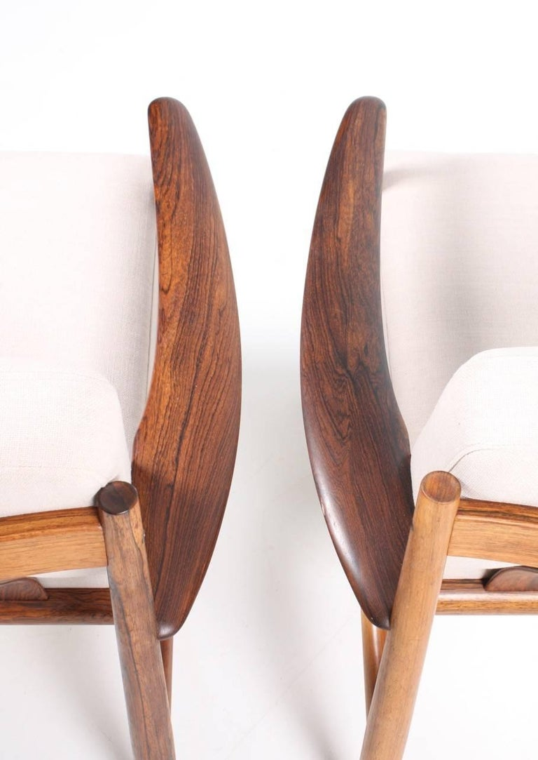 Scandinavian Modern Pair of Lounge Chairs in Rosewood by Grete Jalk