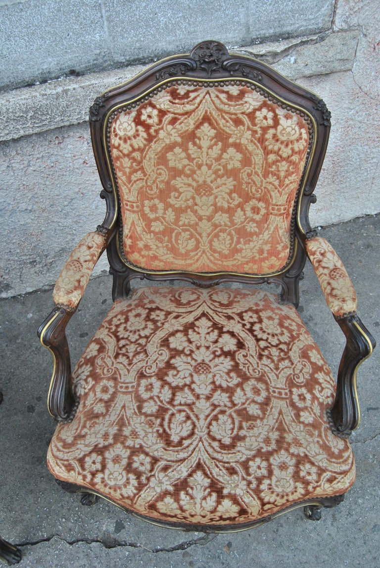 Rococo Revival Pair of 19th Century French Armchairs For Sale