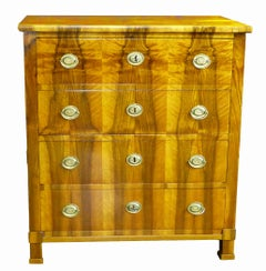 Commode Chest of Drawers Biedermeier 19th Century Outstanding Walnut Veneers