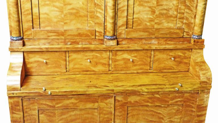 Secretaire Bureau Bookcase 19th Century Swedish Biedermeier Satin Birch For Sale 1