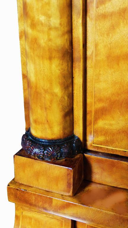 Secretaire Bureau Bookcase 19th Century Swedish Biedermeier Satin Birch For Sale 3