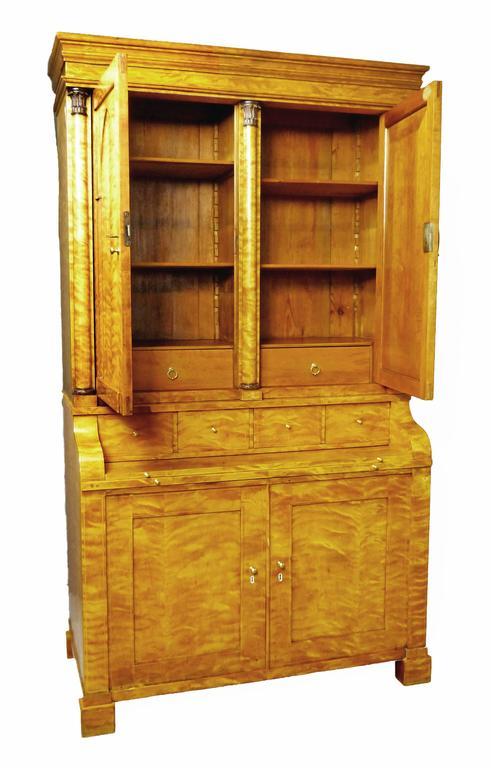 Secretaire Bureau Bookcase 19th Century Swedish Biedermeier Satin Birch For Sale 5