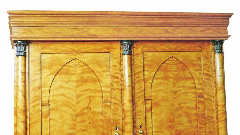 Secretaire Bureau Bookcase 19th Century Swedish Biedermeier Satin Birch For Sale 6