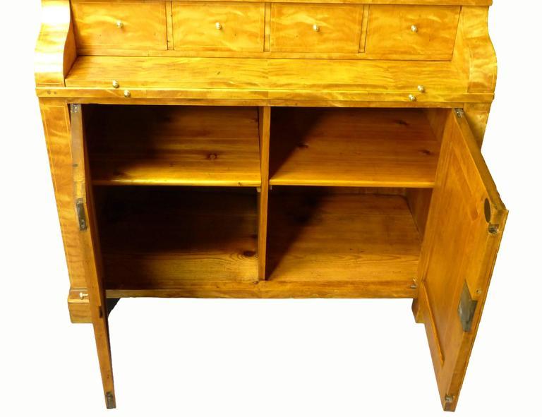Secretaire Bureau Bookcase 19th Century Swedish Biedermeier Satin Birch For Sale 4
