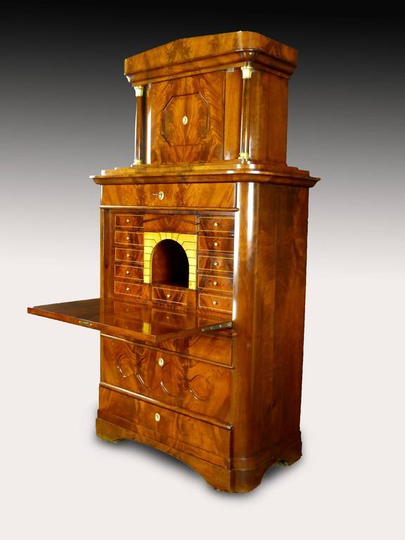 Secretaire Tabernacle Early 19th Century Biedermeier Signed For Sale 4