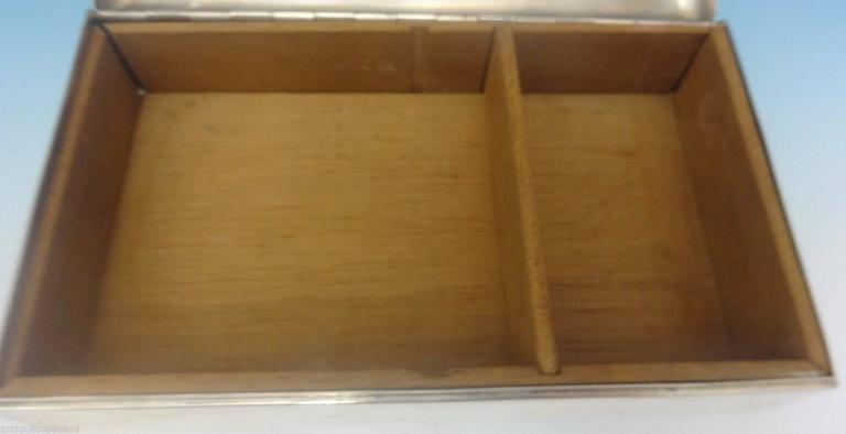 Cartier Sterling Silver Cigarette Box Wood Lined Hollowware In Excellent Condition For Sale In Big Bend, WI